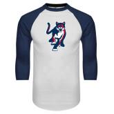 White/Navy Raglan Baseball T-Shirt-Cougar