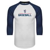 White/Navy Raglan Baseball T-Shirt-Baseball Stacked