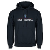 Navy Fleece Hoodie-Mens Basketball Stacked