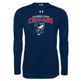 Under Armour Navy Long Sleeve Tech Tee-Columbus State Cougars w/ Cougar Arched
