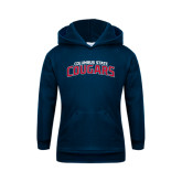 Youth Navy Fleece Hoodie-Arched Columbus State Cougars