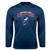 Performance Navy Longsleeve Shirt-Columbus State Cougars w/ Cougar Arched