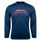 Performance Navy Longsleeve Shirt-Arched Columbus State Cougars