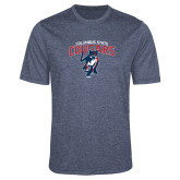 Performance Navy Heather Contender Tee-Columbus State Cougars w/ Cougar Arched