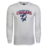 White Long Sleeve T Shirt-Columbus State Cougars w/ Cougar Arched
