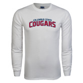 White Long Sleeve T Shirt-Arched Columbus State Cougars