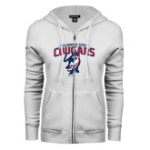 ENZA Ladies White Fleece Full Zip Hoodie-Columbus State Cougars w/ Cougar Arched