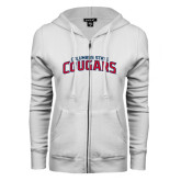 ENZA Ladies White Fleece Full Zip Hoodie-Arched Columbus State Cougars