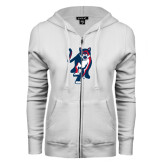 ENZA Ladies White Fleece Full Zip Hoodie-Cougar