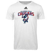 Adidas Climalite White Ultimate Performance Tee-Columbus State Cougars w/ Cougar Arched