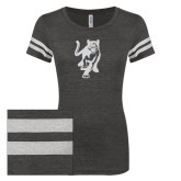 ENZA Ladies Black/White Vintage Triblend Football Tee-Cougar Glitter