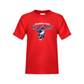 Youth Red T Shirt-Columbus State Cougars w/ Cougar Arched