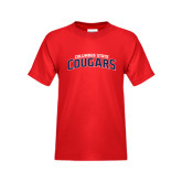 Youth Red T Shirt-Arched Columbus State Cougars