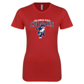 Next Level Ladies SoftStyle Junior Fitted Red Tee-Columbus State Cougars w/ Cougar Arched
