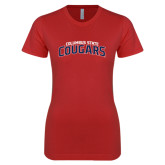 Next Level Ladies SoftStyle Junior Fitted Red Tee-Arched Columbus State Cougars