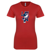 Next Level Ladies SoftStyle Junior Fitted Red Tee-Cougar
