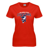 Ladies Red T Shirt-Columbus State Cougars w/ Cougar Arched