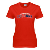 Ladies Red T Shirt-Arched Columbus State Cougars