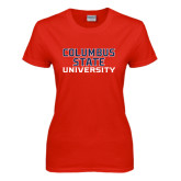 Ladies Red T Shirt-Columbus State University Stacked
