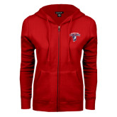 ENZA Ladies Red Fleece Full Zip Hoodie-Columbus State Cougars w/ Cougar Arched