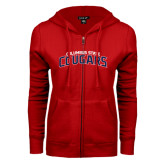 ENZA Ladies Red Fleece Full Zip Hoodie-Arched Columbus State Cougars