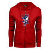 ENZA Ladies Red Fleece Full Zip Hoodie-Cougar