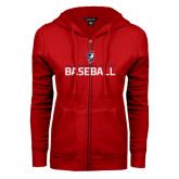 ENZA Ladies Red Fleece Full Zip Hoodie-Baseball Stacked