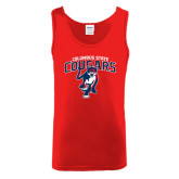 Red Tank Top-Columbus State Cougars w/ Cougar Arched