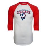 White/Red Raglan Baseball T-Shirt-Columbus State Cougars w/ Cougar Arched