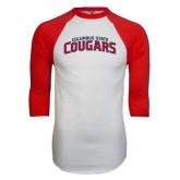 White/Red Raglan Baseball T-Shirt-Arched Columbus State Cougars