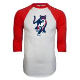 White/Red Raglan Baseball T-Shirt-Cougar