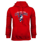 Red Fleece Hoodie-Columbus State Cougars w/ Cougar Arched