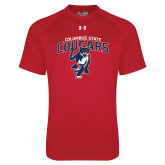 Under Armour Red Tech Tee-Columbus State Cougars w/ Cougar Arched