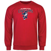 Red Fleece Crew-Columbus State Cougars w/ Cougar Arched