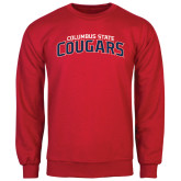 Red Fleece Crew-Arched Columbus State Cougars