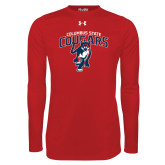 Under Armour Red Long Sleeve Tech Tee-Columbus State Cougars w/ Cougar Arched