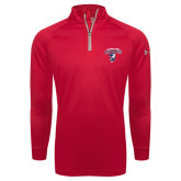 Under Armour Red Tech 1/4 Zip Performance Shirt-Columbus State Cougars w/ Cougar Arched