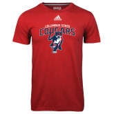 Adidas Climalite Red Ultimate Performance Tee-Columbus State Cougars w/ Cougar Arched