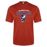 Performance Red Heather Contender Tee-Columbus State Cougars w/ Cougar Arched