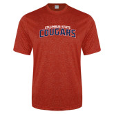 Performance Red Heather Contender Tee-Arched Columbus State Cougars