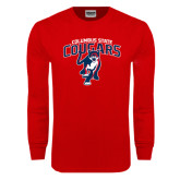 Red Long Sleeve T Shirt-Columbus State Cougars w/ Cougar Arched