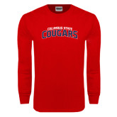 Red Long Sleeve T Shirt-Arched Columbus State Cougars