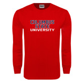 Red Long Sleeve T Shirt-Columbus State University Stacked