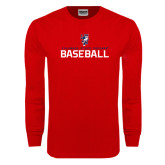 Red Long Sleeve T Shirt-Baseball Stacked