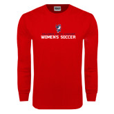 Red Long Sleeve T Shirt-Womens Soccer Stacked