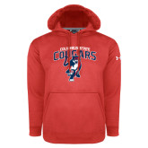 Under Armour Red Performance Sweats Team Hoodie-Columbus State Cougars w/ Cougar Arched