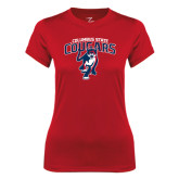 Ladies Syntrel Performance Red Tee-Columbus State Cougars w/ Cougar Arched