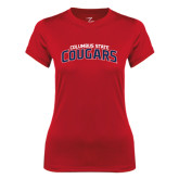 Ladies Syntrel Performance Red Tee-Arched Columbus State Cougars