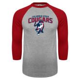 Grey/Red Raglan Baseball T Shirt-Columbus State Cougars w/ Cougar Arched