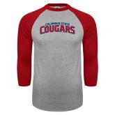 Grey/Red Raglan Baseball T Shirt-Arched Columbus State Cougars